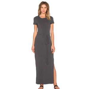 James Perse Gray Pocket Tee Maxi Dress Side Slit